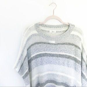 Lou & Grey Striped Eyelash Knit Sweater Poncho